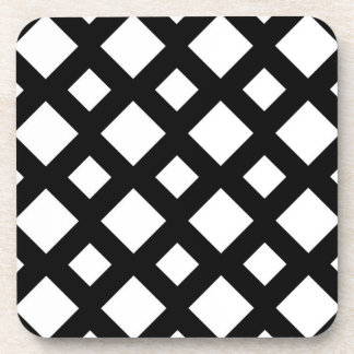 White Diamonds on Black Beverage Coaster