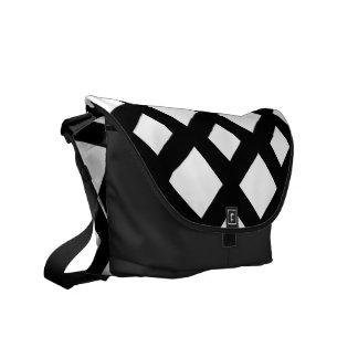 White Diamonds on Black Messenger Bag