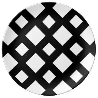 White Diamonds on Black Porcelain Plate