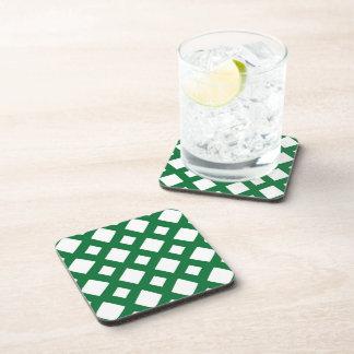 White Diamonds on Green Beverage Coaster