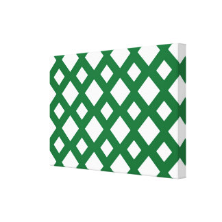 White Diamonds on Green Gallery Wrapped Canvas
