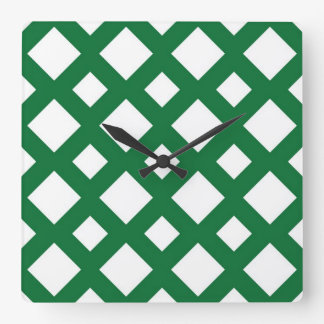 White Diamonds on Green Square Wall Clock
