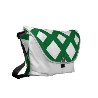 White Diamonds on Green Courier Bag