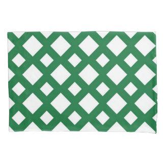 White Diamonds on Green Geometric Pattern Pillowcase