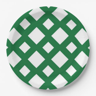 White Diamonds on Green Paper Plate