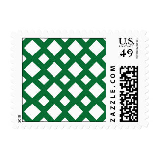 White Diamonds on Green Postage Stamp