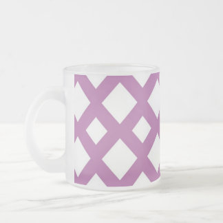 White Diamonds on Lavender Frosted Glass Coffee Mug