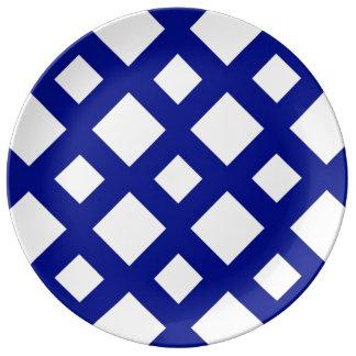 White Diamonds on Navy Dinner Plate
