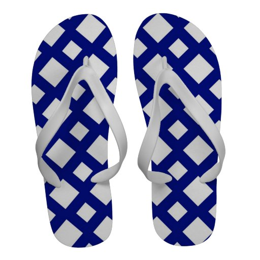 White Diamonds on Navy Sandals