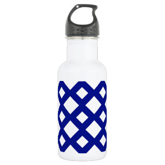 White Diamonds on Navy Stainless Steel Water Bottle