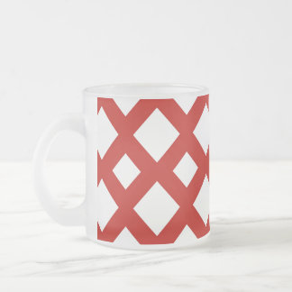 White Diamonds on Red Frosted Glass Coffee Mug