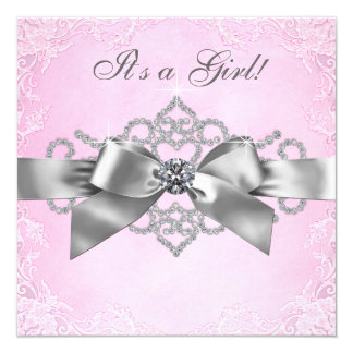 White Diamonds Pink and Gray Baby Shower Invitations