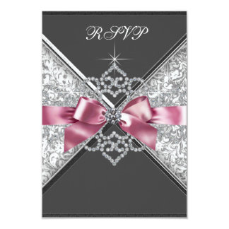 White Diamonds Pink Black RSVP Card