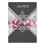 White Diamonds Pink Black RSVP Personalized Invitation