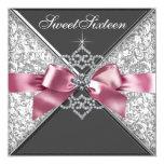 White Diamonds Pink Black Sweet 16 Birthday Party Card
