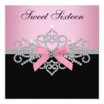 White Diamonds Pink Black Sweet 16 Birthday Party Invitations