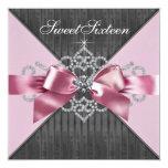 White Diamonds Pink Black Sweet 16 Birthday Party Personalized Invitations