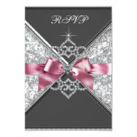 White Diamonds Pink Black Sweet 16 Birthday Party Personalized Announcements