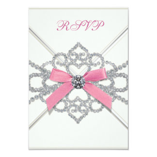 White Diamonds Pink Sweet 16 Birthday Party Card