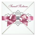 White Diamonds Pink Sweet 16 Birthday Party Card