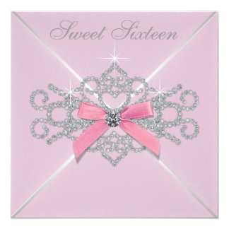 White Diamonds Pink Sweet 16 Birthday Party Personalized Invitation