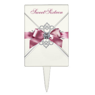 White Diamonds Pink Sweet 16 Cake Toppers