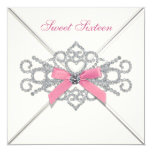 White Diamonds Pink Sweet 16 Party Card