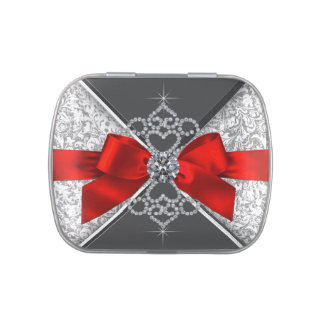 White Diamonds Red Black Sweet 16 Birthday Party Candy Tins