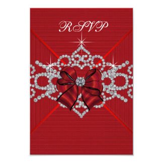 White Diamonds Red Sweet 16 Birthday Party RSVP 3.5x5 Paper Invitation Card