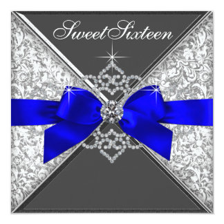 White Diamonds Royal Blue Sweet 16 Birthday Party Card