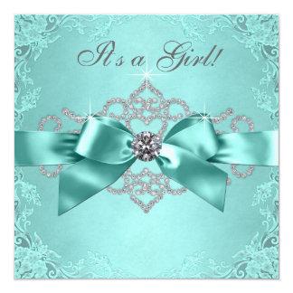 White Diamonds Teal Blue Baby Shower Invites
