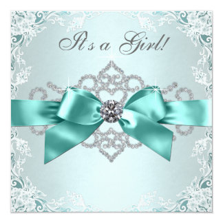 White Diamonds Teal Blue Baby Shower Announcement