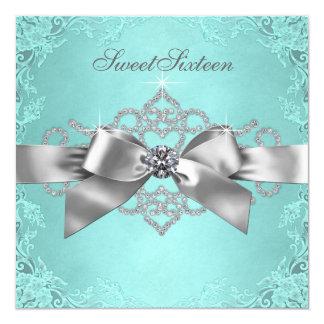White Diamonds Teal Blue Birthday Party Card