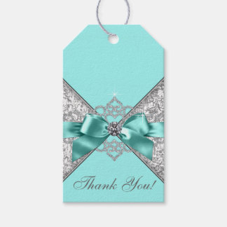 White Diamonds Teal Blue Birthday Party Gift Tags