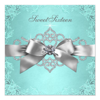 "White Diamonds Teal Blue Birthday Party 5.25"" Square Invitation Card"
