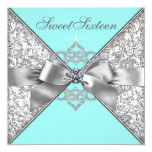 White Diamonds Teal Blue Birthday Party Personalized Announcement Cards