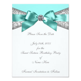White Diamonds Teal Blue Save the Date 4.25x5.5 Paper Invitation Card
