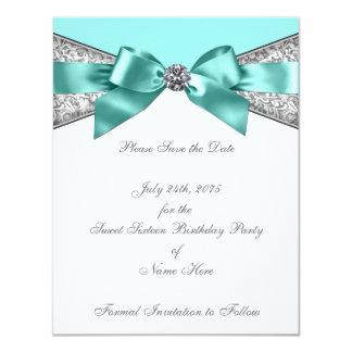 White Diamonds Teal Blue Save the Date Invitation