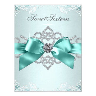 White Diamonds Teal Blue Sweet 16 Birthday Party 4.25x5.5 Paper Invitation Card