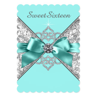 White Diamonds Teal Blue Sweet 16 Birthday Party Card