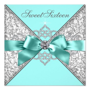 Pure_Elegance White Diamonds Teal Blue Sweet 16 Birthday Party Card