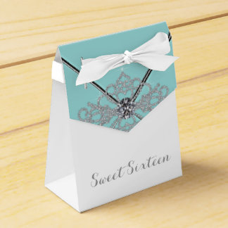 White Diamonds Teal Blue Sweet 16 Birthday Party Favor Box