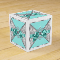 White Diamonds Teal Blue Sweet 16 Birthday Party Favor Box