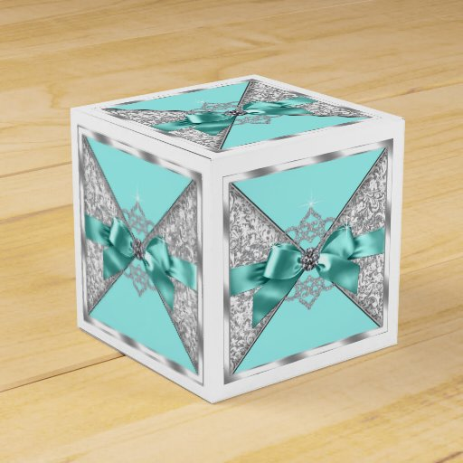 Blue Lightning Favor Boxes : White diamonds teal blue sweet birthday party favor box