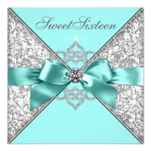 White Diamonds Teal Blue Sweet 16 Birthday Party ...