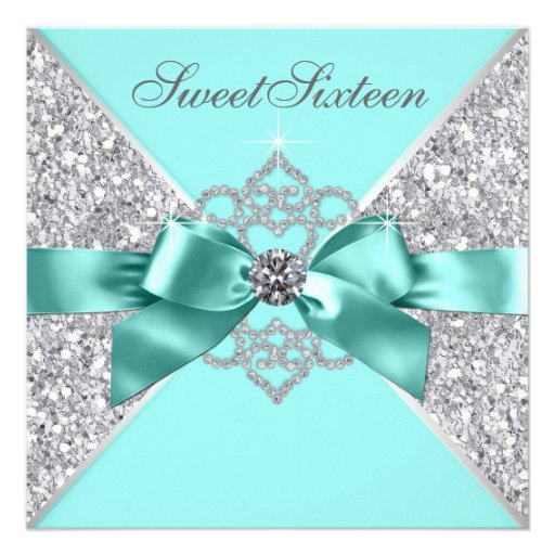 White Diamonds Teal Blue Sweet 16 Birthday Party Announcement