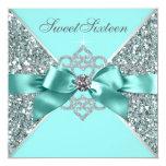 White Diamonds Teal Blue Sweet 16 Birthday Party Custom Invite