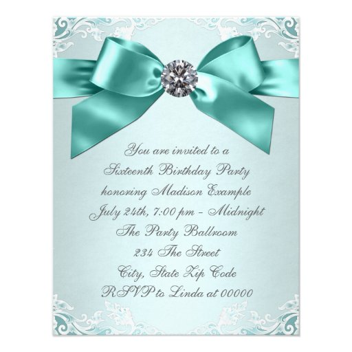 White Diamonds Teal Blue Sweet 16 Birthday Party Personalized Invite (back side)