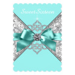White Diamonds Teal Blue Sweet 16 Birthday Party Cards