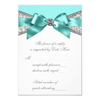 White Diamonds Teal Blue Sweet 16 RSVP 3.5x5 Paper Invitation Card